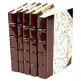 Leather Books Patent Leather Re-bound Decorative Books in Brown (Set of 5)