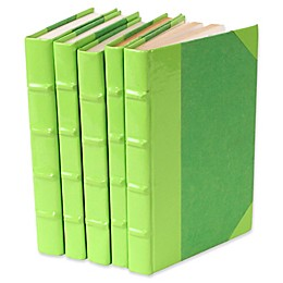 Leather Books Patent Leather Re-bound Decorative Books in Lime Green (Set of 5)