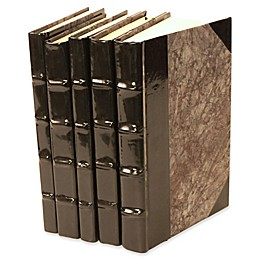 Leather Books Patent Leather Re-bound Decorative Books in Black (Set of 5)