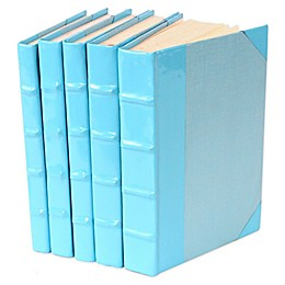 Leather Books Patent Leather Re-bound Decorative Books in Light Blue (Set of 5)