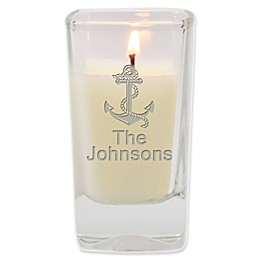 Carved Solutions Anchor Unscented Soy Wax Glass Votive Candle