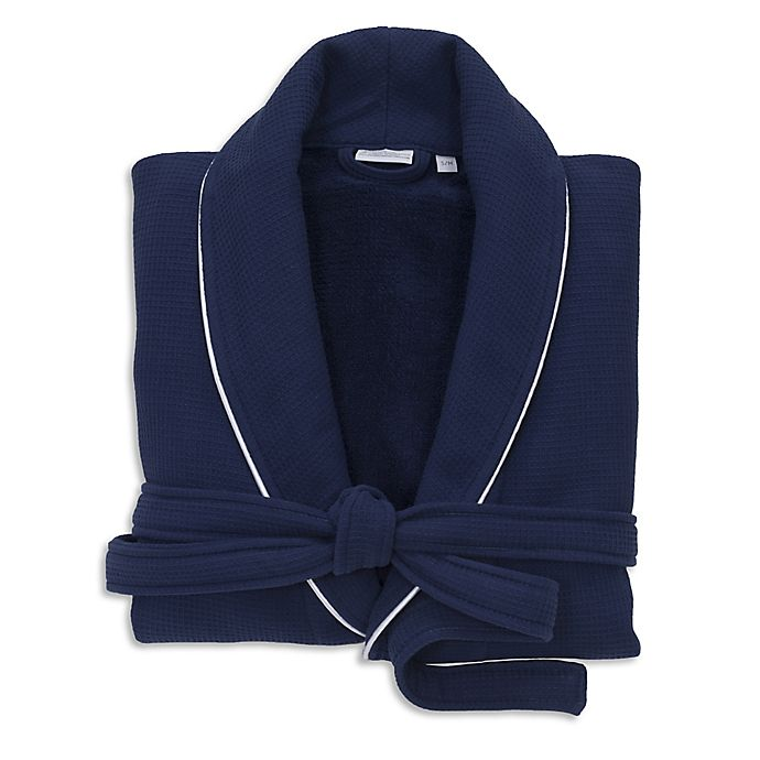 Alternate image 1 for Linum Home Textiles Small/Medium Waffle Terry Turkish Cotton Unisex Bathrobe in Navy