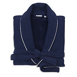 Linum Home Textiles Small/Medium Waffle Terry Turkish Cotton Unisex Bathrobe in Navy