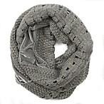 Velvet to Knit Loop Scarf in Grey