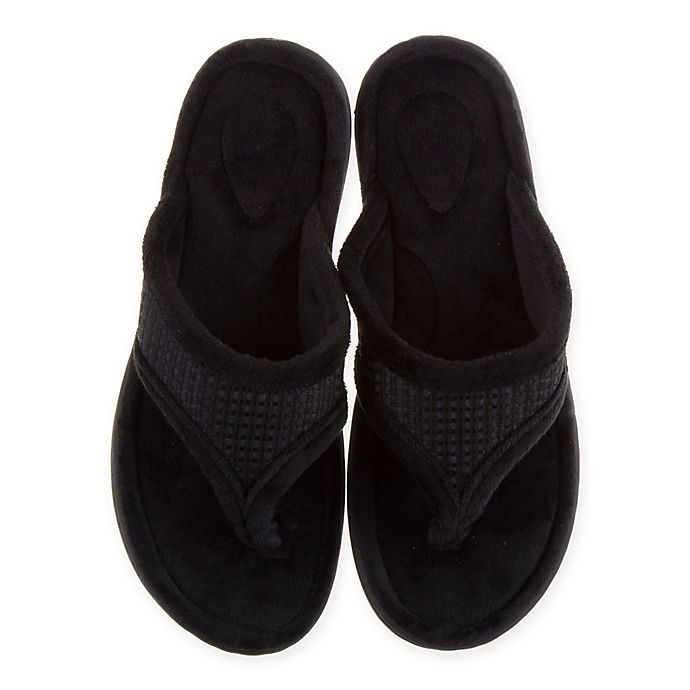 Alternate image 1 for Therapedic® Medium Women's Thong Slippers in Black