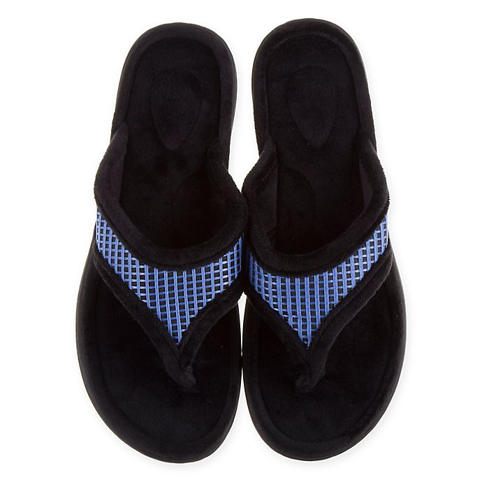 Alternate image 1 for Therapedic® Large Women's Thong Slippers in Blue