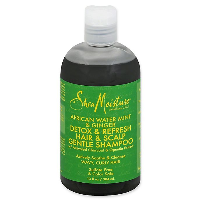 Alternate image 1 for SheaMoisture® African Water Mint & Ginger 13 fl. oz. Detox & Refresh Gentle Shampoo