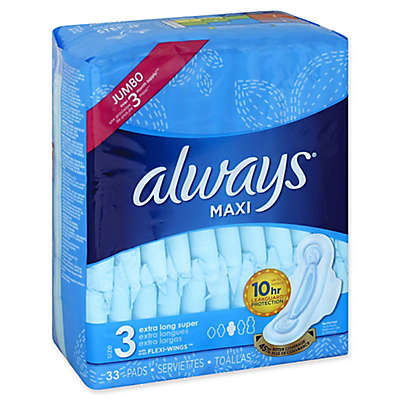 Always® 33-Count Maxi Size 3 Extra Long Unscented Super Pads With Wings