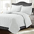 Tribeca Living Lyon Solid Queen Quilt Set in White