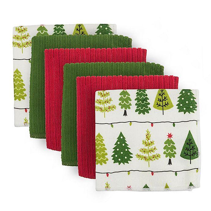 Microfiber Towels Bed Bath And Beyond: Holiday Trees Microfiber Dishtowels (Set Of 4)