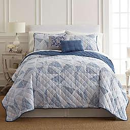 Pacific Coast Textiles Dillon 5-Piece Quilt Set in Blue