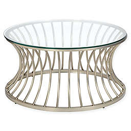 Madison Park Casey Glass and Metal Circular Coffee Table