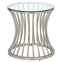 Madison Park Casey Glass and Metal Circular End Table