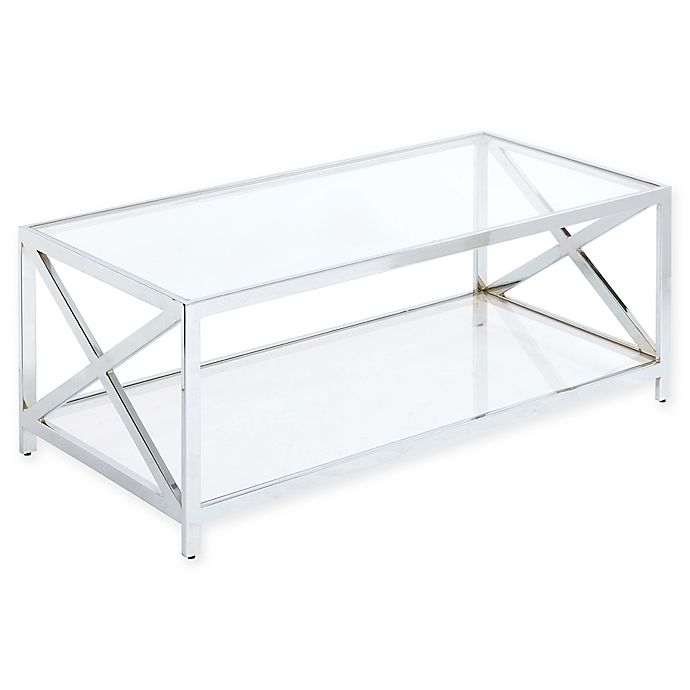 Alternate image 1 for Madison Park Darwin Chrome and Glass Coffee Table