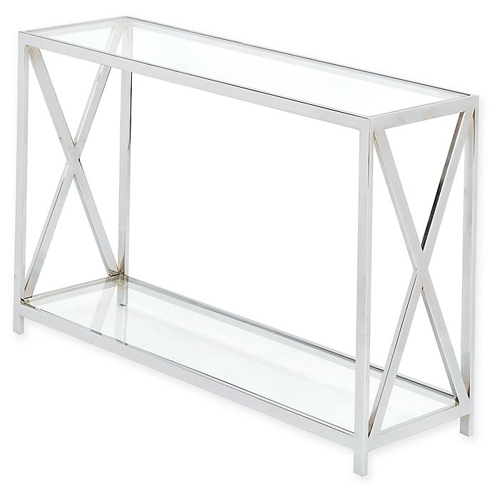 Awesome Madison Park Darwin Chrome And Glass Console Table Bed Ncnpc Chair Design For Home Ncnpcorg