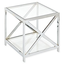Madison Park Darwin Chrome and Glass End Table