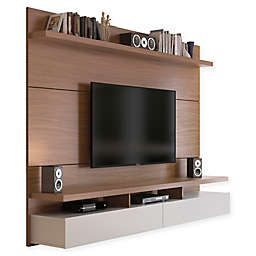 Manhattan Comfort City 1.8 Entertainment Center in Maple Cream/White