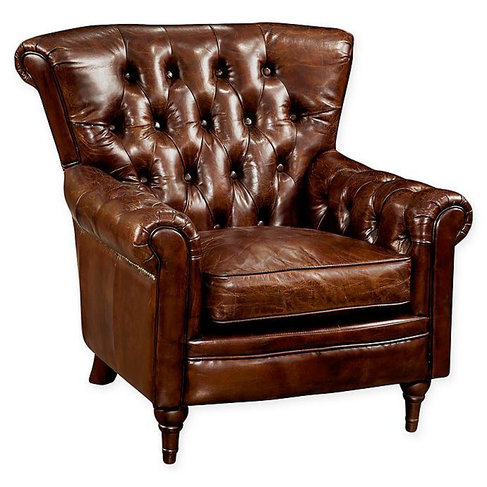 Alternate image 1 for Moe's Home Collection New Castle Tufted Leather Arm Chair in Dark Brown