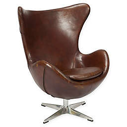 Moe's Home Collection St Anne Leather Swivel Club Chair in Dark Brown