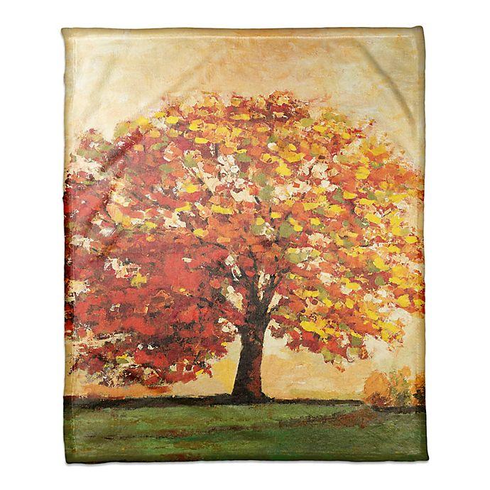 Alternate image 1 for Designs Direct Fall Tree Scene Throw Blanket in Orange