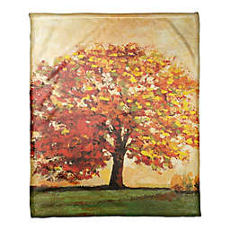 Designs Direct Fall Tree Scene Throw Blanket in Orange