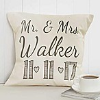 Our Wedding Date 14-Inch Square Throw Pillow