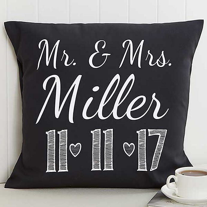 Alternate image 1 for Our Wedding Date 18-Inch Square Throw Pillow