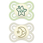 MAM Orthodontic Perfect Night Size 0-6M 2-Pack Unisex Pacifiers in White/Green