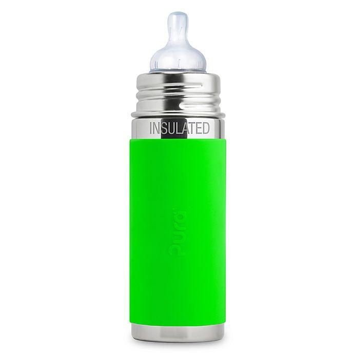 Alternate image 1 for Pura Kiki® 9 oz. Insulated Infant Bottle with Silicone Medium-Flow Nipple & Sleeve