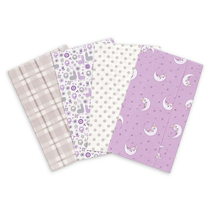 Alternate image 1 for Trend Lab® 4-Pack Llamas and Unicorns Burp Cloth Set