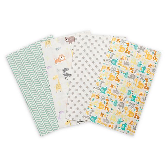 Alternate image 1 for Trend Lab® 4-Pack Mint Jungle Burp Cloth Set