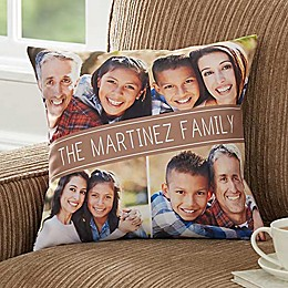 Family Photo Throw Pillow