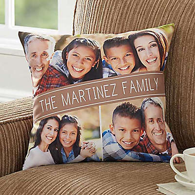 Family Photo 18-Inch Square Throw Pillow