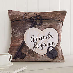 Key To My Heart 14-Inch Square Throw Pillow