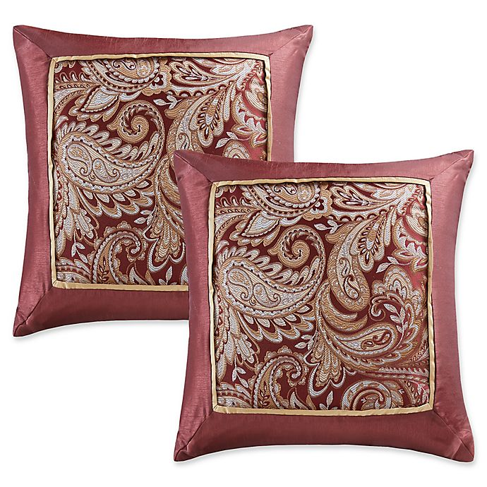 Alternate image 1 for Madison Park Aubrey Square Throw Pillows in Burgundy (Set of 2)