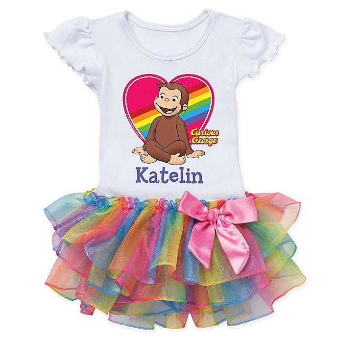 Alternate image 1 for Curious George™ Heart Rainbow Tutu T-Shirt