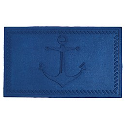 Design Imports Anchor 18-Inch x 30-Inch Door Mat in Blue