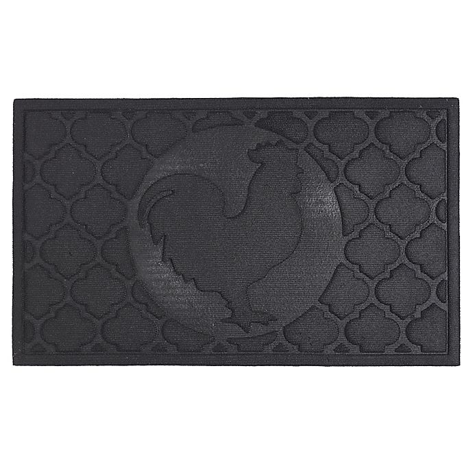 Alternate image 1 for Design Imports Rooster 18-Inch x 30-Inch Door Mat in Black