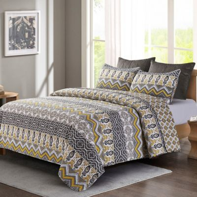 Tapestry Quilt Set In Grey Yellow Bed Bath Amp Beyond