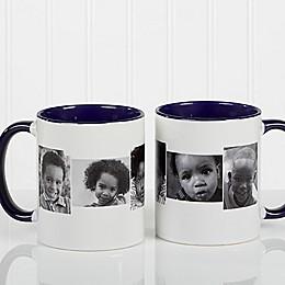 5 Photo Collage 11 oz. Coffee Mug in Blue/White