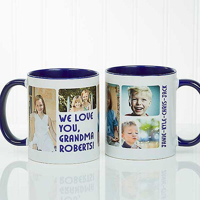 Alternate image 1 for 5 Photos Loving Message 11 oz. Coffee Mug in Blue/White
