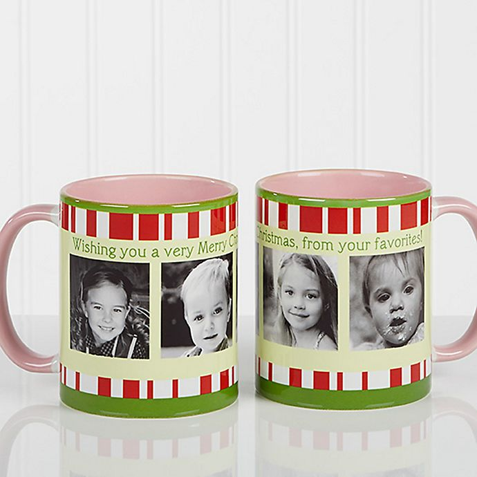 Alternate image 1 for Christmas Photo Message 11 oz. Coffee Mug in Pink
