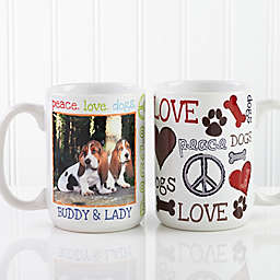 Peace, Love, Dogs 15 oz. Photo Coffee Mug in White