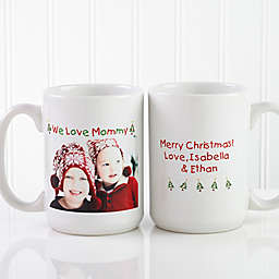 Christmas Photo Wishes 15 oz. Coffee Mug in White