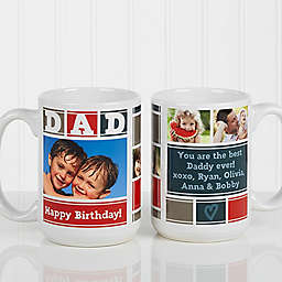 Dad Photo Collage 15 oz. Coffee Mug in White