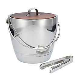 Crafthouse by Fortessa Stainless Steel Ice Bucket with Wood Lid and Tongs