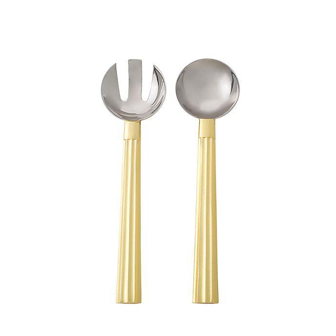 Alternate image 1 for Marigold Artisans Fluted 2-Piece Salad Serving Set in Gold