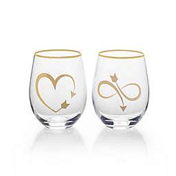 Mikasa® Arrow Stemless Wine Glasses (Set of 2)