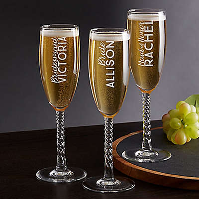 Wedding Party Twisted Champagne Flute