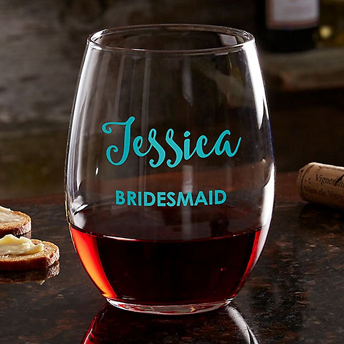 Alternate image 1 for Bridal Party Personalized Stemless Wine Glass